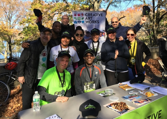 Some of the 2015 Generosity NYC 5K Participants: Kneeling L to R: CAW Board Member Frank DiBrino, Tim Perkins. Middle row L to R: CAW Executive Director Brian Ricklin, Board Member Amita Kalra, Jossie Polanco of Boston Properties, Director of Development Karen Jolicoeur, Seana Wyman, Heather Kahn of JLL. Back row L to R: CAW Teaching Artist Gabriel Lawrence, Board Member Ed Harris, Marketing & Communications Manager Scott Lucas.