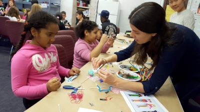 Making Guatemalan Worry Dolls at the free Saturday art workshop at United Palace of Cultural Arts in Washington Heights.