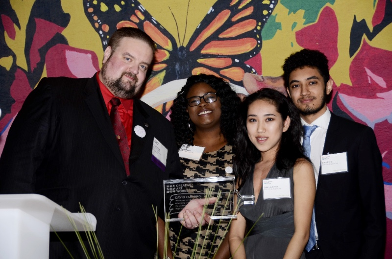 2017 Honoree Principal David Fanning with Youth Honorees Ashanti Albert, Akmaral Ulanova and Justin Leo Rivera.
