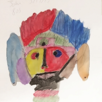 A literal interpretation: A Hamilton Grange Student drew a symbolic portrait Christopher, the protagonist of The Curious Incident of the Dog in the Night-Time, as half-human, half robot, to express the literal-mindedness of a character.