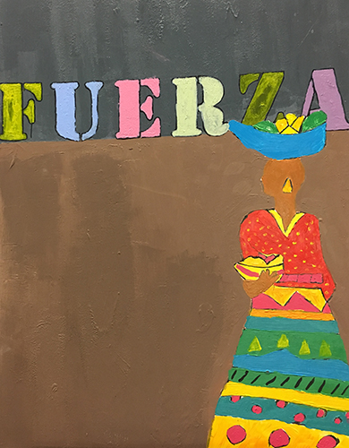 Fuerza (Strength) - The drawing of the lady carrying a basket full of fruit is a well known figure in the Caribbean. The painting symbolizes all the hard work done by many people in order to survive. During this project, I gave my best effort to learn from Ms. Jaffia and from my classmates. My experience in this art program has been full of laughter, learning and hard work. Now I see my classmates not only as friends but as my complementary colors.- Kimberly Geraldino
