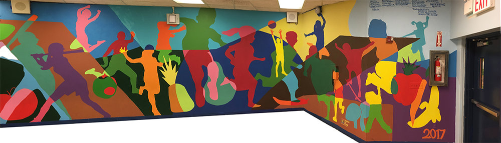 Cafeteria mural painted by  IS 18  and  MS 278  students in a spring, 2017  Active Design  program, implemented in collaboration with the schools' Wellness Councils and   C.H.A.L.K ,  and with the support of the  NYC Department of Health and Mental Hygiene .