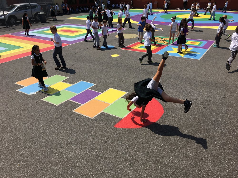 School yard activation resulting from a Family Engagement project at  PS/MS 278  during spring 2017, implemented in collaboration with the school's administration and Wellness Council, under a  Family Engagement grant  from the   NYC Department of Education's Office of Arts and Special Projects  .