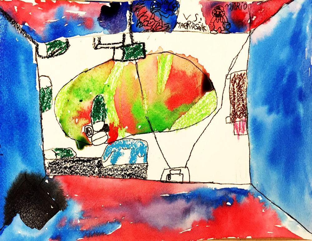 Matthew's oil pastel resist painting