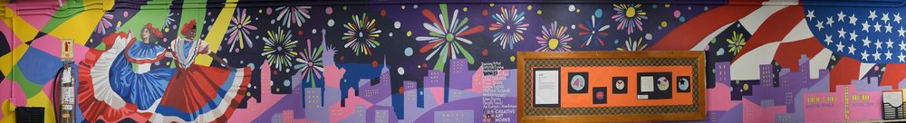 New York Nigh Lights  by HGMS Students in a CASA mural-painting program stretches nearly 50 feet.