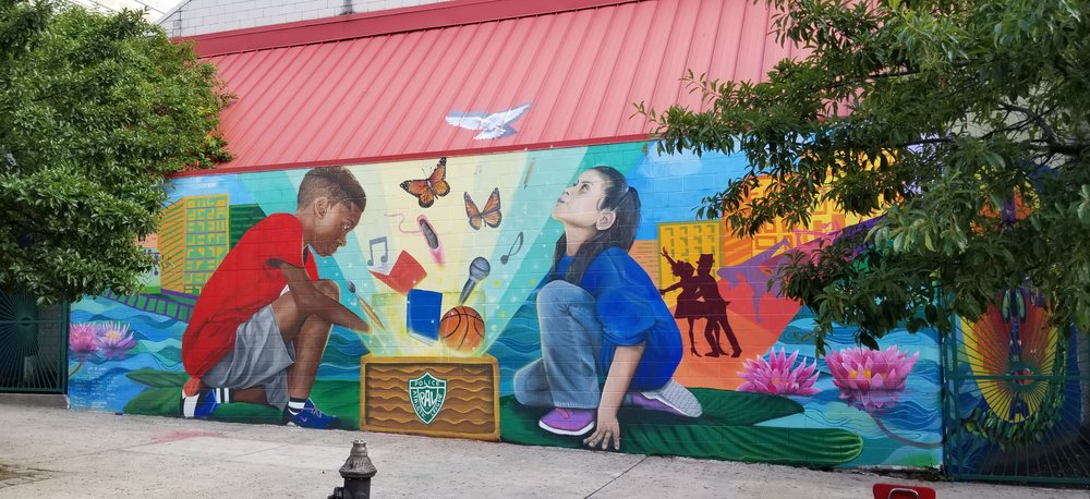 Visit the CAW murals at PAL New South Bronx Center at 991 Longwood Ave, The Bronx, NY 10459