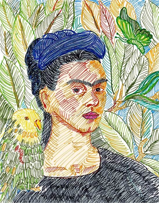 After  Self Portrait with Bonito  by Frida Khalo