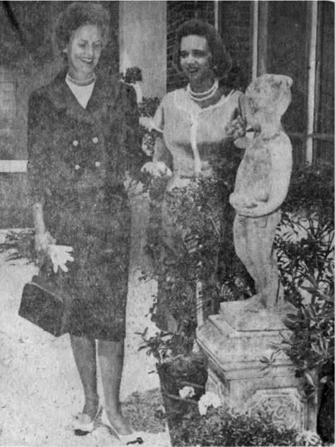 Mrs. Edwin Hatch, left, and Mrs. Thomas Gearhart at the Children's Hospital garden          On February 9, 1950, The Little Garden Club received notification that the club had been unanimously elected to membership in The Garden Club of America (GCA). Our sister club in Birmingham, Red Mountain Garden Club (RMGC), and Lookout Mountain Garden Club of Chattanooga, had sponsored our club for membership the previous May. In 1954 The Little and Red Mountain Garden Clubs were asked to co-host the GCA Southern Zone Meeting, when a club  in Texas was unable to do so. This was quite an undertaking, since the Southern Zone included what we now know as Zones VIII and IX, and both clubs rose to the occasion. Just as now, the meeting included horticulture and conservation sessions, as well as a flower show, open to the public. The two clubs have co-hosted several meetings and supported each other's projects for decades.      The 60's and 70's    The Little Garden Club has always taken on an ambitious variety of projects. In 1961 our    members designed and installed a garden at the Children's Hospital. It was located in the atrium of the hospital and had seasonal plantings, statuary, fountains, and garden benches for patients and hospital personnel to enjoy. Soon after, a second garden was installed, a pebble court, where patients and their families could walk and rest. A whimsical wall mural was designed and painted by a LGC member and delighted all who visited. The Little Garden Club maintained the hospital gardens for twenty years until the space was needed for expansion of the hospital. The project was nominated twice for a GCA Founders Fund Award.       In 1965, inspired by a club member, LGC presented a herbarium of several hundred specimens to the Birmingham Botanical Gardens (BBG). Today the herbarium is housed in the Gardens' educational complex for which The Little Garden Club helped to raise funds, and it contains samples of most plants native to Jefferson County.       In the late 1960s two LGC members envisioned an abandoned sandstone quarry as the perfect spot for a wildflower garden at the Birmingham Botanical Gardens. Bolstered by other enthusiastic gardeners from our club and Red Mountain Garden Club, they engaged the noted Swiss landscape designer Xenon Schreiber to transform the quarry and eroded stream bed into a harmonious hillside garden, accessible by paths throughout. Many club volunteers worked in the garden during the 1970s, and others developed and presented a slide program on native plants for schools and community groups. This special area of the BBG was dedicated in 1986 as the Kaul Wildflower Garden and today stands as a collection of over 400 trees, shrubs, vines and flowers native to Alabama woodlands.