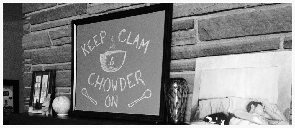 "Mantel and motto at The Fairfield: ""Keep Clam & Chowder On."""