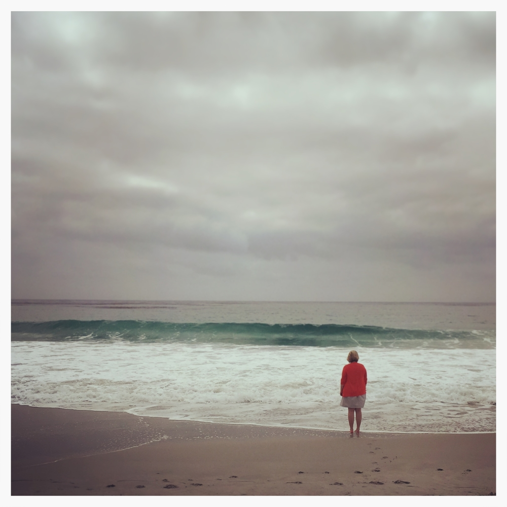 Adie watches the waves, pensively, in Carmel-by-the-Sea.