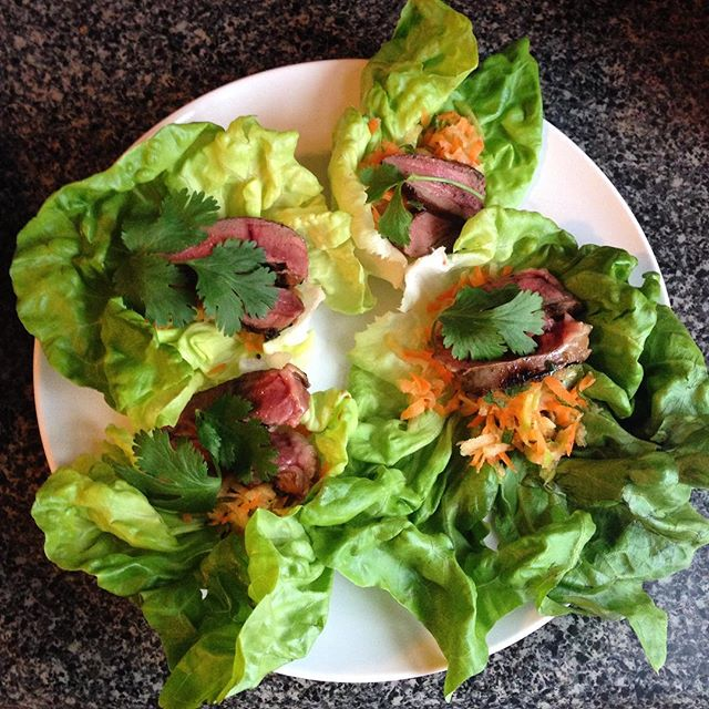 Lamb heart lettuce wraps with coconut, carrot and daikon slaw 🐑❤️Should I write a paleo cookbook y/n