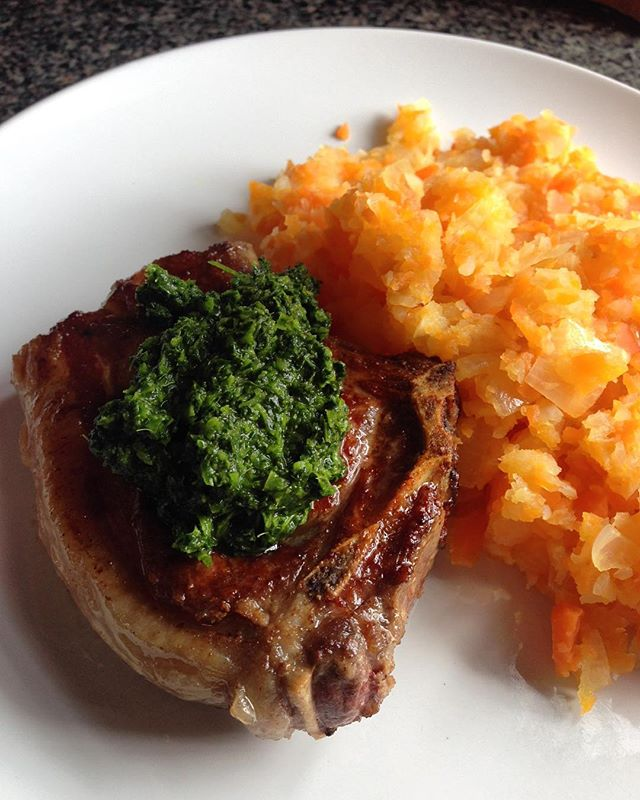 Lard-seared grass-fed lamb, ghee-mashed turnips and carrots, (no-nut) kale pesto. Paleo-ing hard, bro.