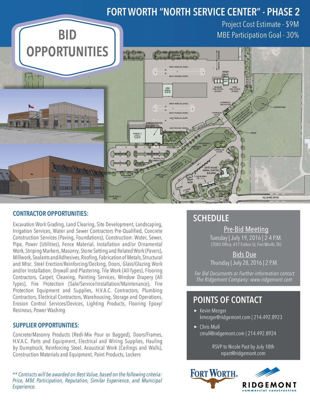 bid opportunity in forth worth ridgemont commercial construction
