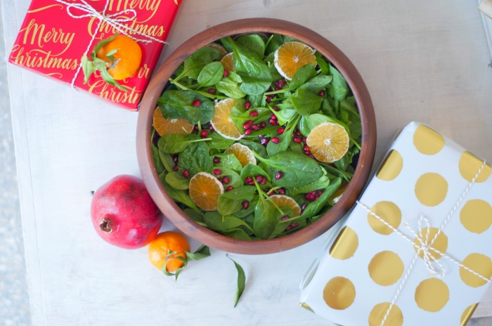 Citrus Spinach Salad w/ Pomegranate + Walnut
