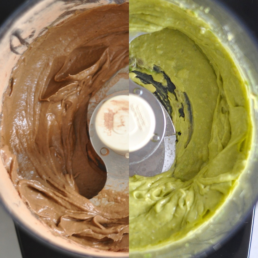 Whipped avocado and banana, before and after adding cacao powder!