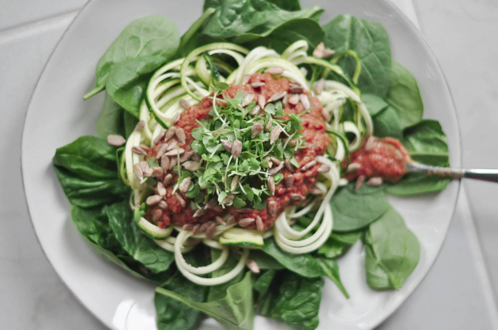 Erin Stanczyk | Lifestyle Design | eat.move.rest. | RAW VEGAN SPAGHETTI WITH SAVORY TOMATO BASIL SAUCE