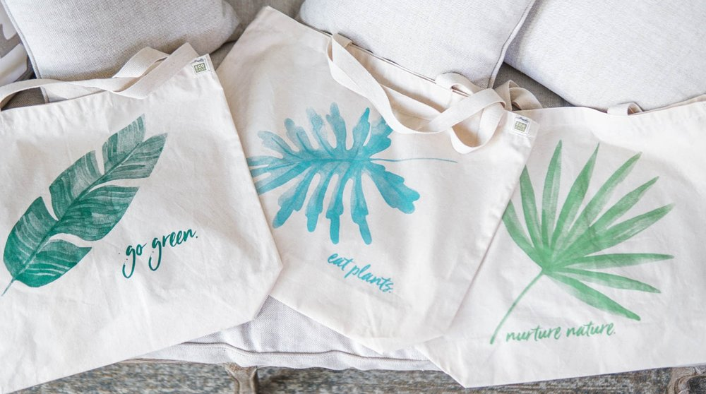 It's easy being green! - Show your love for mother nature & the power of plants with an Eco-friendly EatMoveRest Recycled Cotton Market Tote!