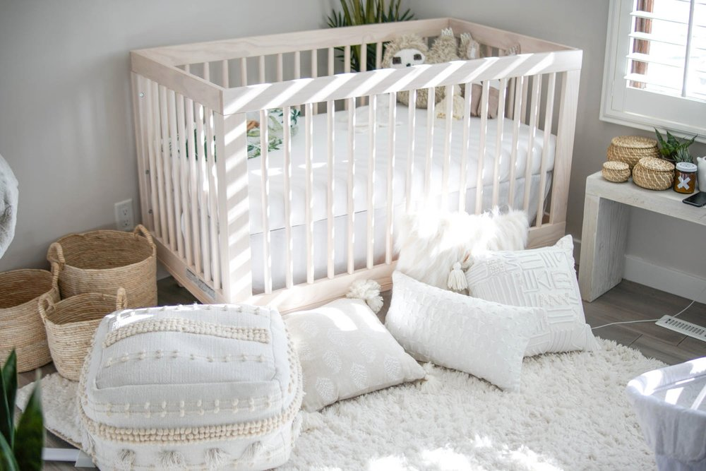 Pictured above:   Babyletto 'Hudson' Crib  //  Urban Outfitters Woven Baskets  //  Target x Opalhouse Lory Pouf