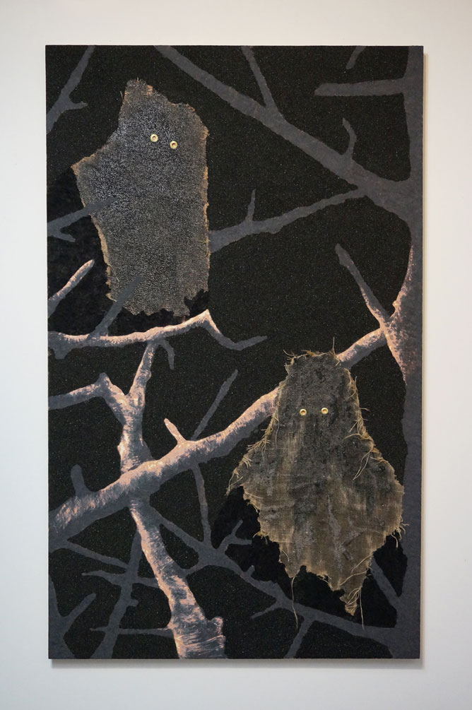 Those Sons of Bitches Were Watching Us, 2016, rayon, polymers, coal, burlap, resin on panel, 72in x 44in