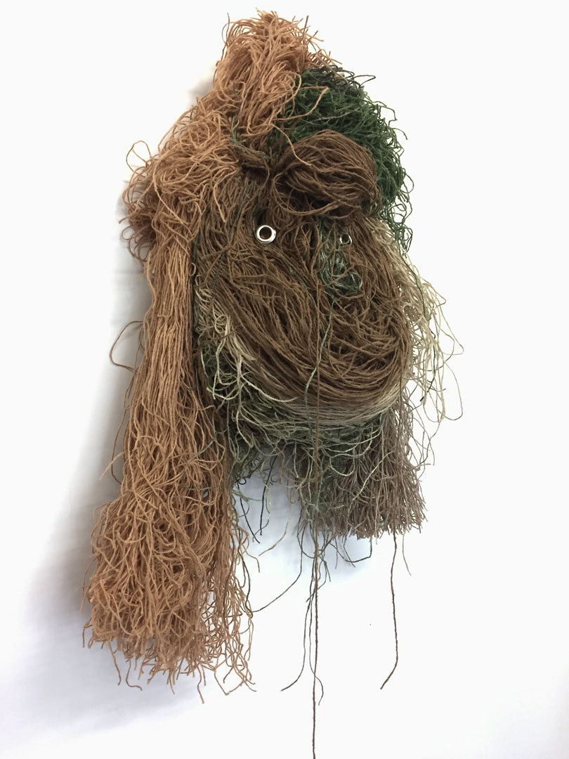 Nurtured by the Unexplained, 2017, Ghillie Thread, Grommets, 38 x 17 x 8in