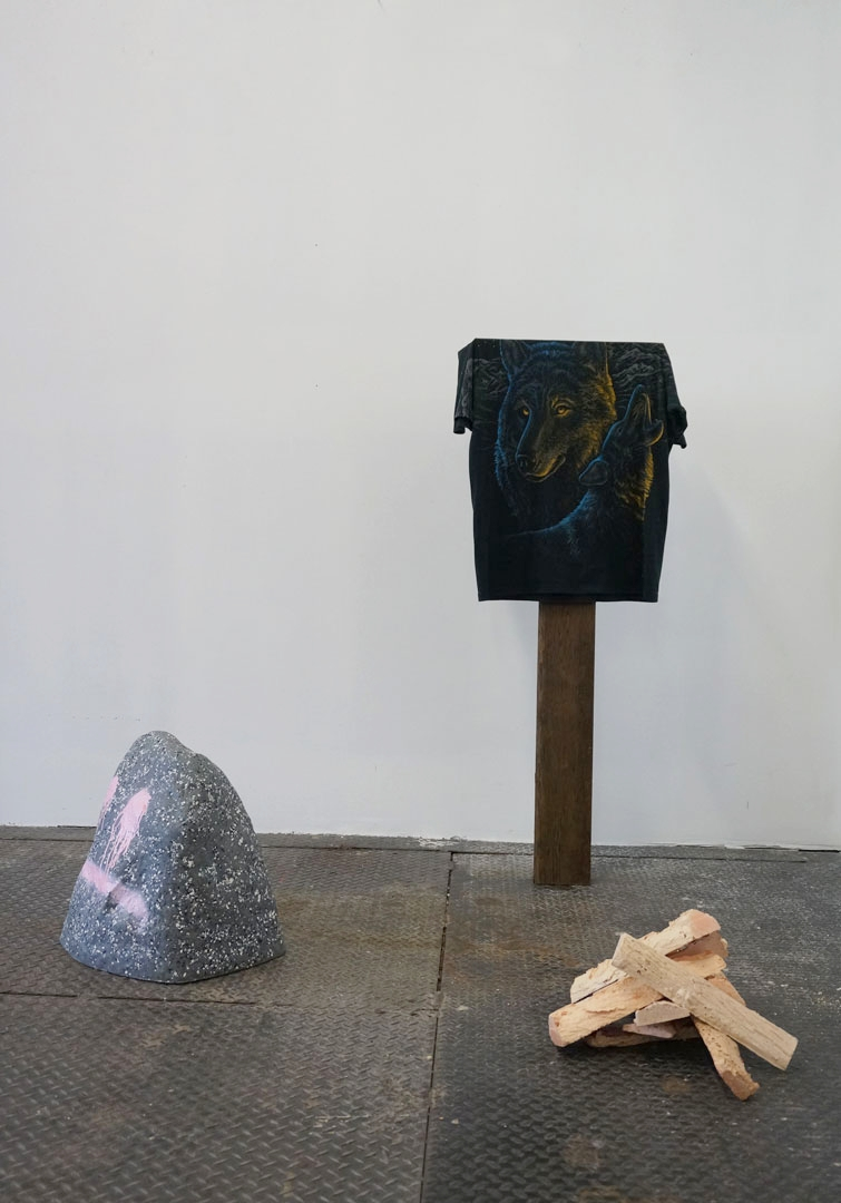 Last Settlement, 2016, Wood, Resin, Shirt, Artificial Rock, Acrylic, Variable