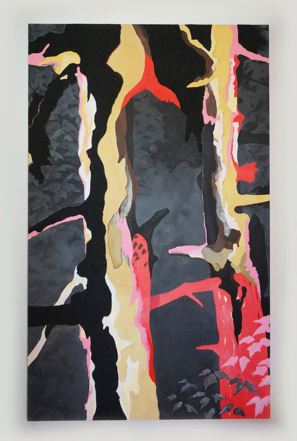Waiting and Watching, 2017, acrylic polymers, rayon, coal on Canvas, 72in x 44in