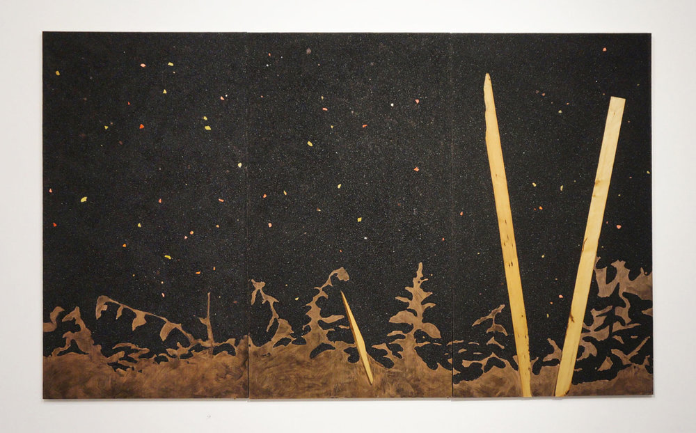 Crossroads with a Flashlight, 2016, coal, wood, resin, urethane, 72 x 120in
