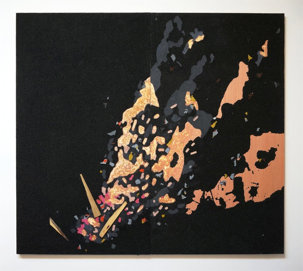 Staring at the Fire trying to Forget, 2016, coal, polymers, wood, rayon on panel, 72in x 80in