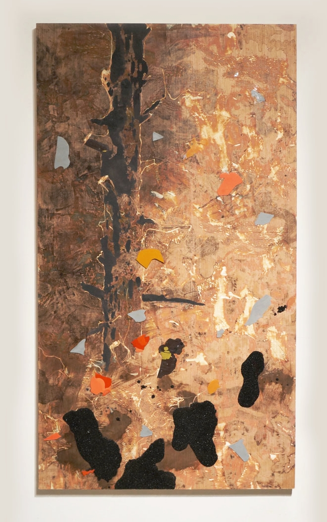 John Denver is All Around Us, 2016, resin, coal, rayon, shellac on panel, 72in x 40in