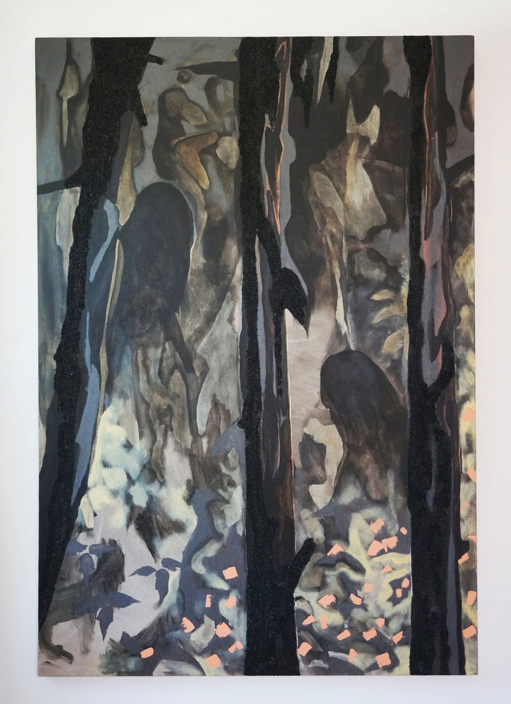 Nomads, 2017, acrylic, coal on canvas, 64in x 44in