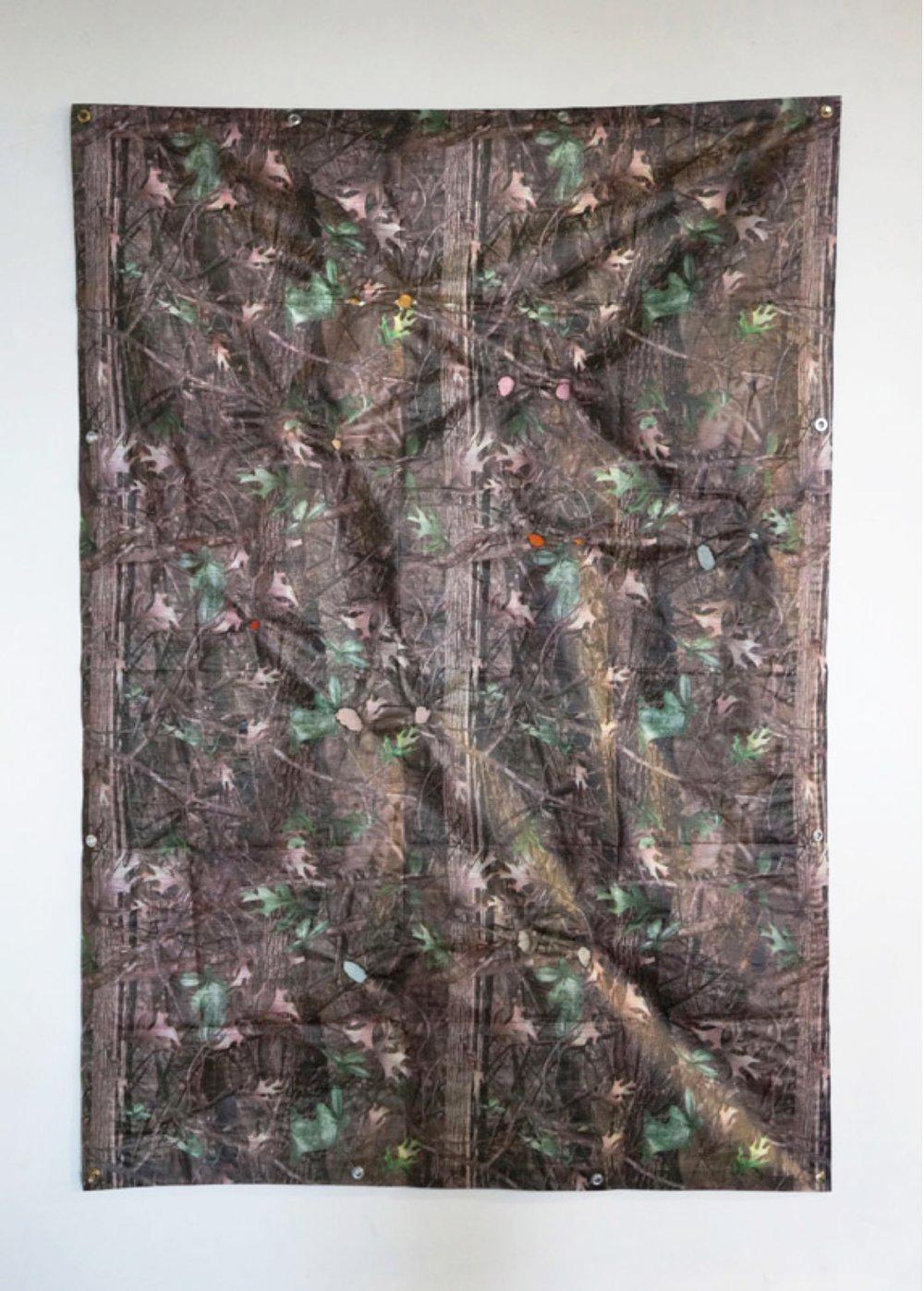 Law of the Bush, 2016, tarp, canvas, 7 x 5ft