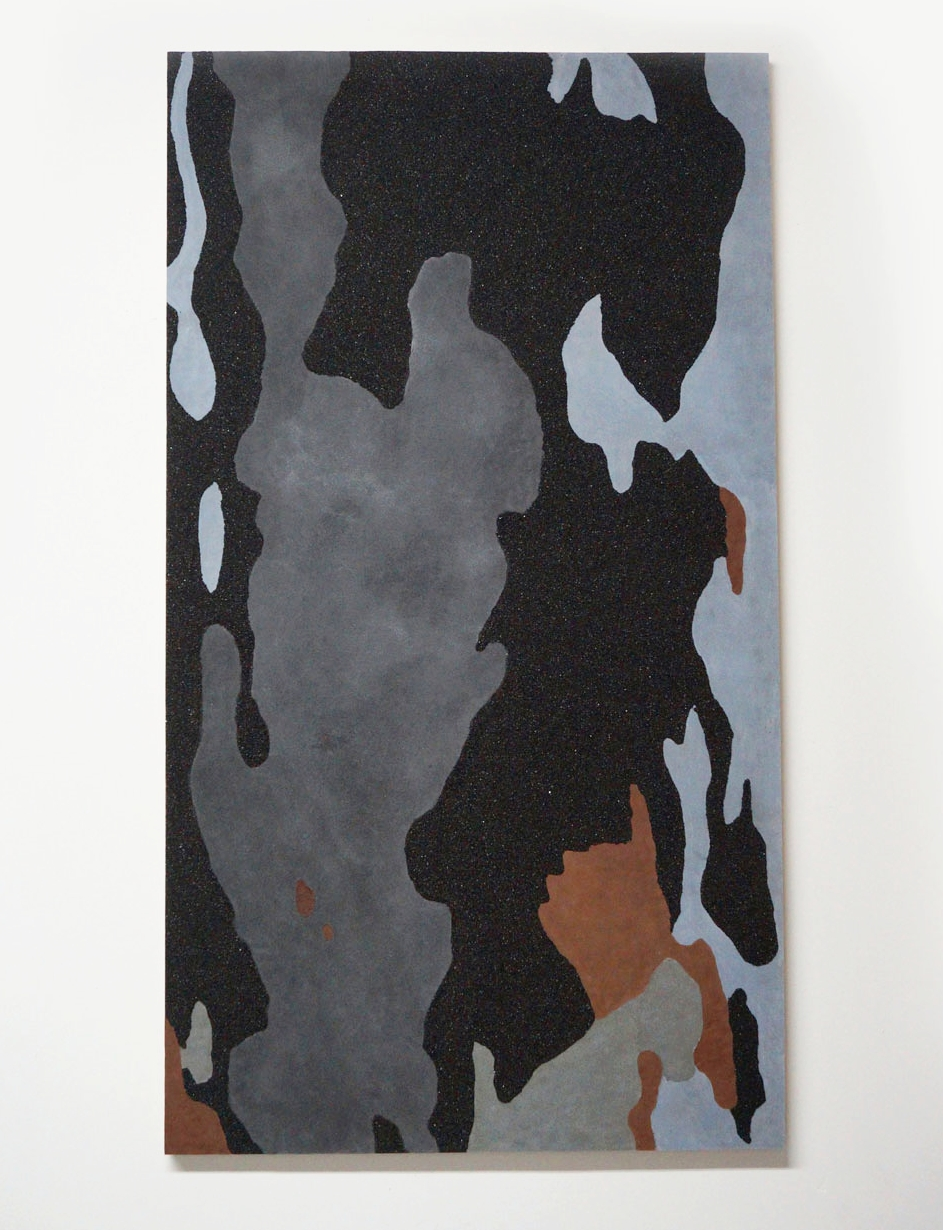 """London Plaintree in Plain Sight, 2016, Coal and Rayon, 72""""x40"""" 2015"""