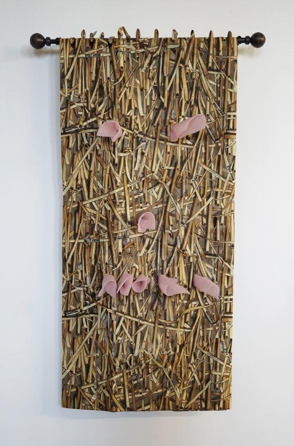 Staring Back, 2016, Foam, Fabric, Curtain Rod, 45 x 30 x 4in