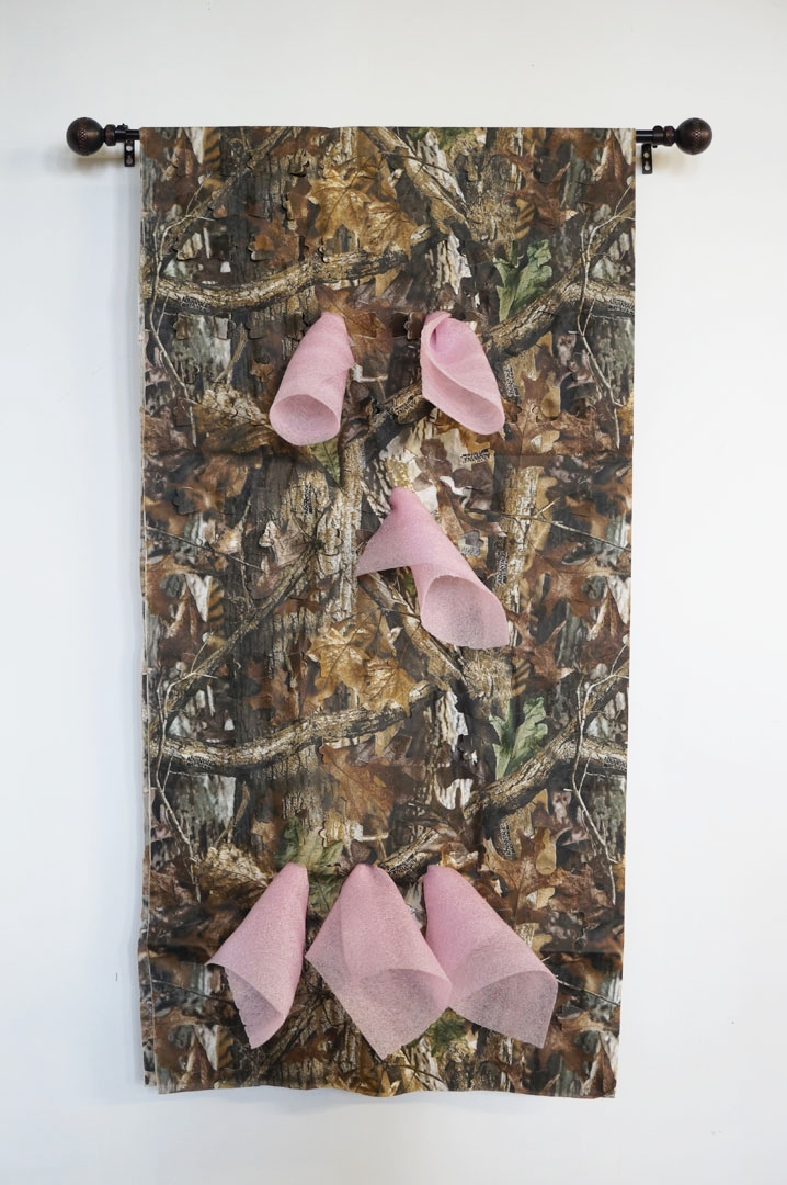 Seriously Dude, 2016, Foam, Fabric, Curtain Rod, 45 x 25 x 4in