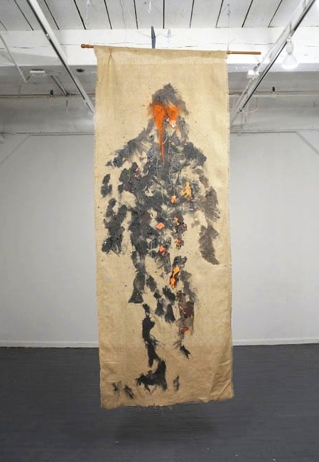 Lets believe in Giants II, 2016, Resin, Spay Paint, Synthetic Thread, Burlap, 120 x 44, 2016