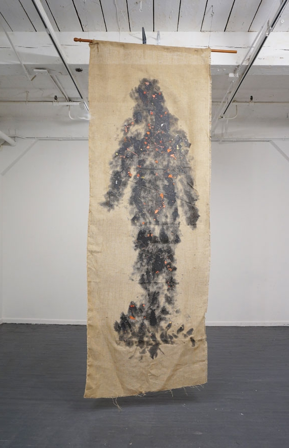 Lets believe in Giants, 2016,  Resin on Burlap, 144 x 44, 2015