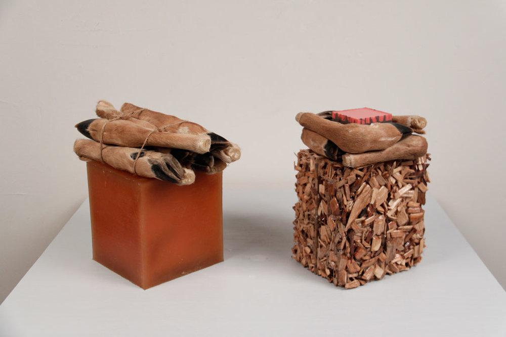 Cube 1 Cube 2, 2011, rubber, wood, resin, jute, deer legs, 10 x 12 x 6.5in