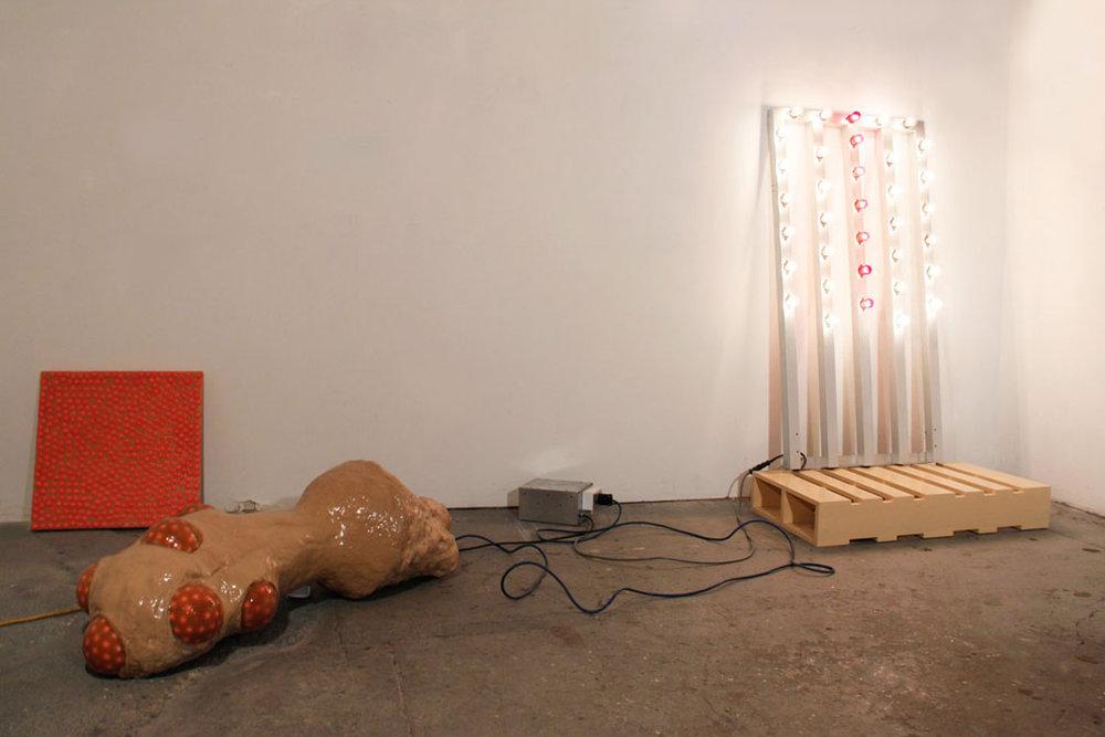 Time is the Living, 2010, gum, rubber, wood, resin, aluminum, light bulbs, hardware,