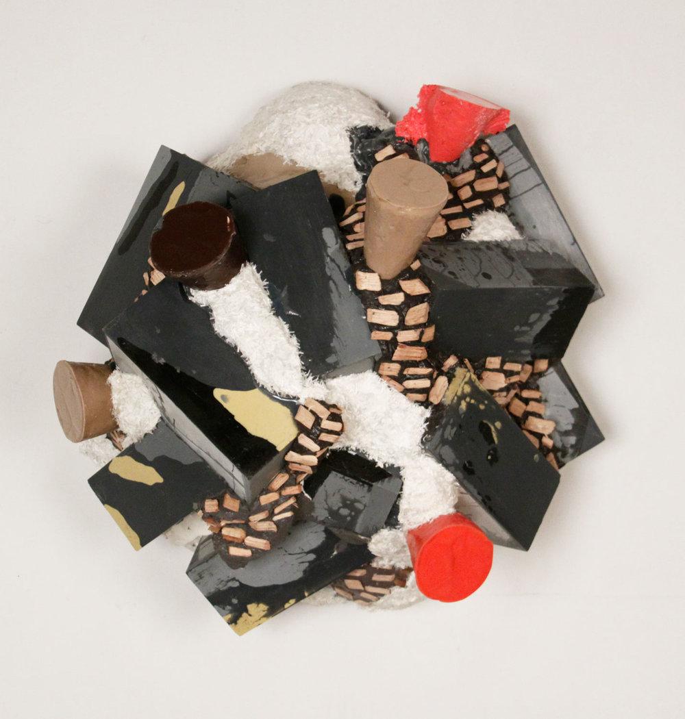Commingle, 2013, resin, fiberglass, wood chips, foam, 24 x 24 x 14in