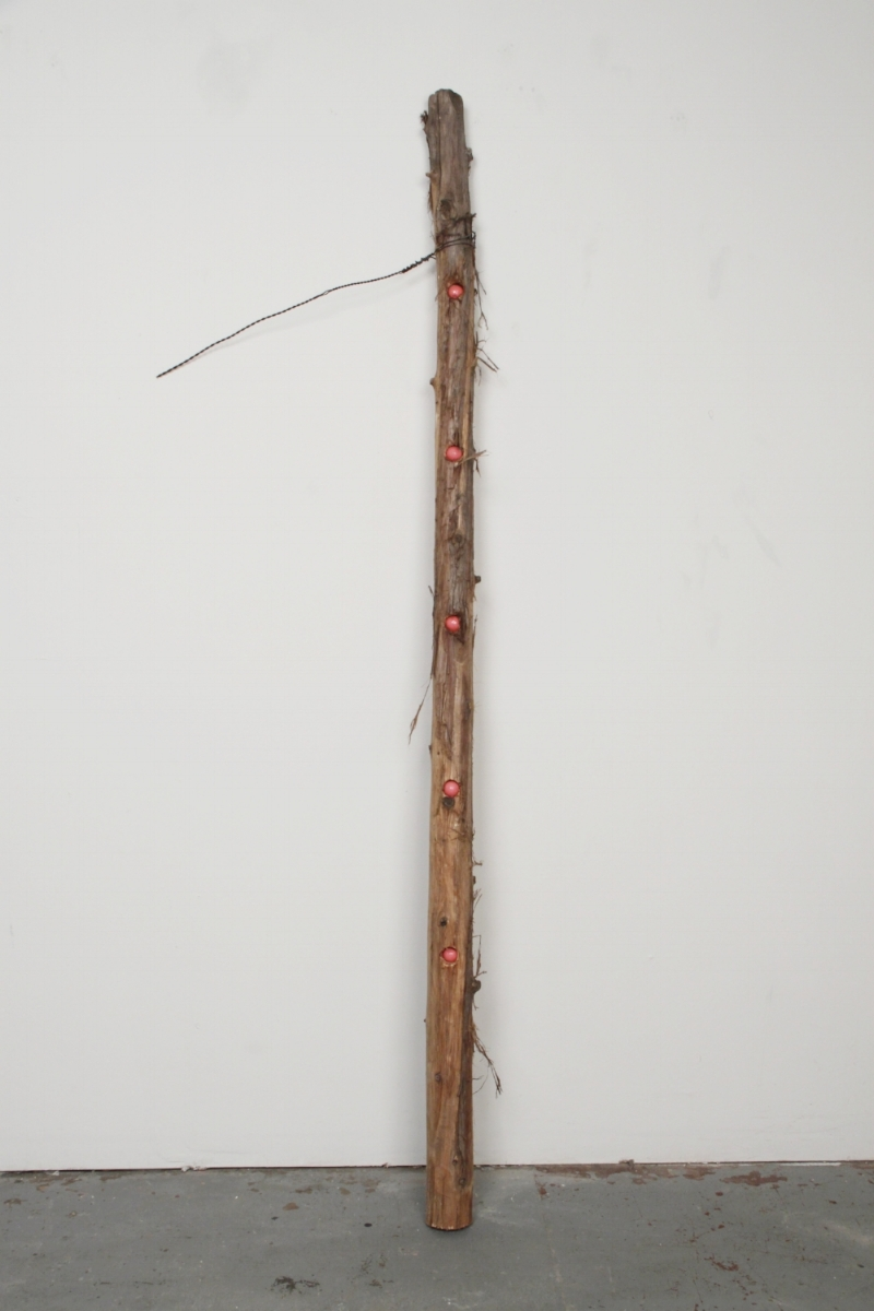 Post, 2011, cedar post, wire, gum, rubber, 72 x 17 x 3in