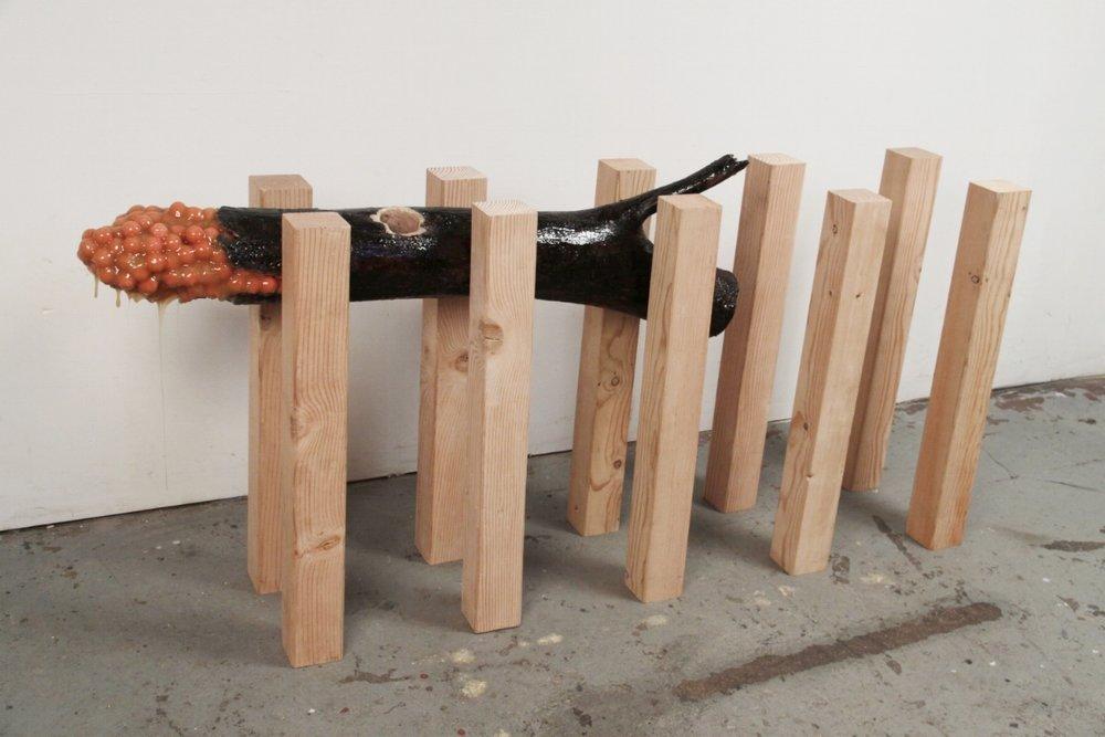 Shelter Belt, 2011, cedar, tree, rubber, gum, resin, 26 x 80 x 14in