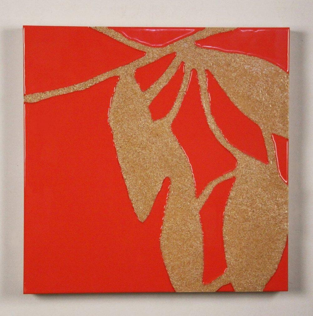 Still Life 2, 2011, millet, resin on panel, 24 x 24in