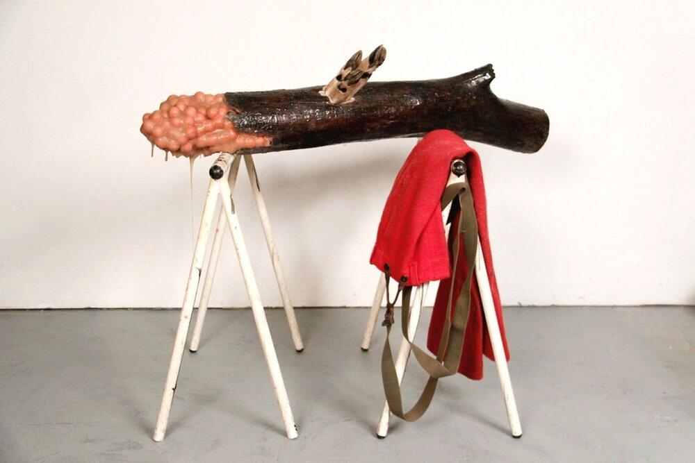 Preparations for Advancement, 2013, wool pants, suspenders, tree branch, gum, resin, deer hooves, rubber, steel, 42 x 60  x 40in