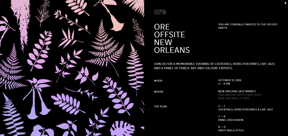 The invitation to Ore Offsite designed by 7d8.