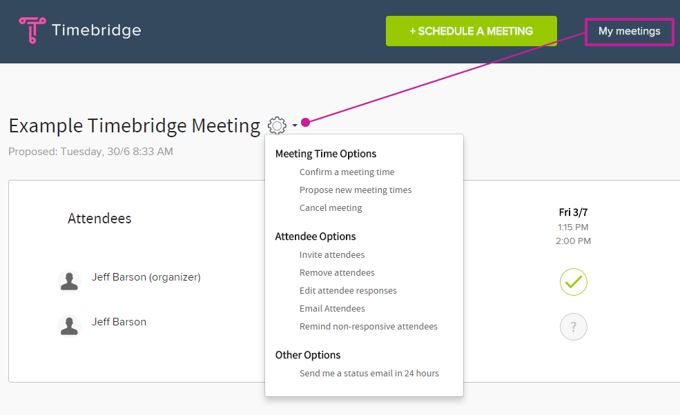 My Meetings > Select the meeting you want to edit > Click on the Gear Icon for your options