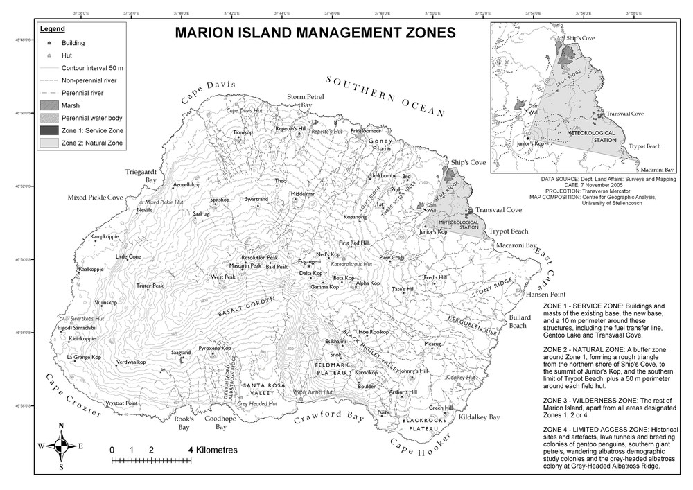 Marion Island is 300 square kilometers in extent, rising just over 1200 meters above sea level, and is essentially the summit of a very large undersea volcano. The circumference of the island is roughly 100 kilometers along the coast.