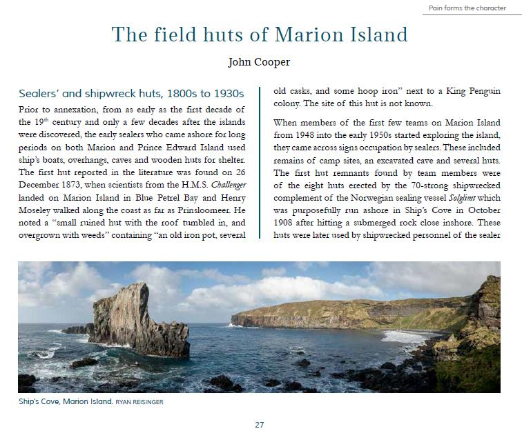 read about the fascinating history of the marion island field huts in our book. Click on the image.