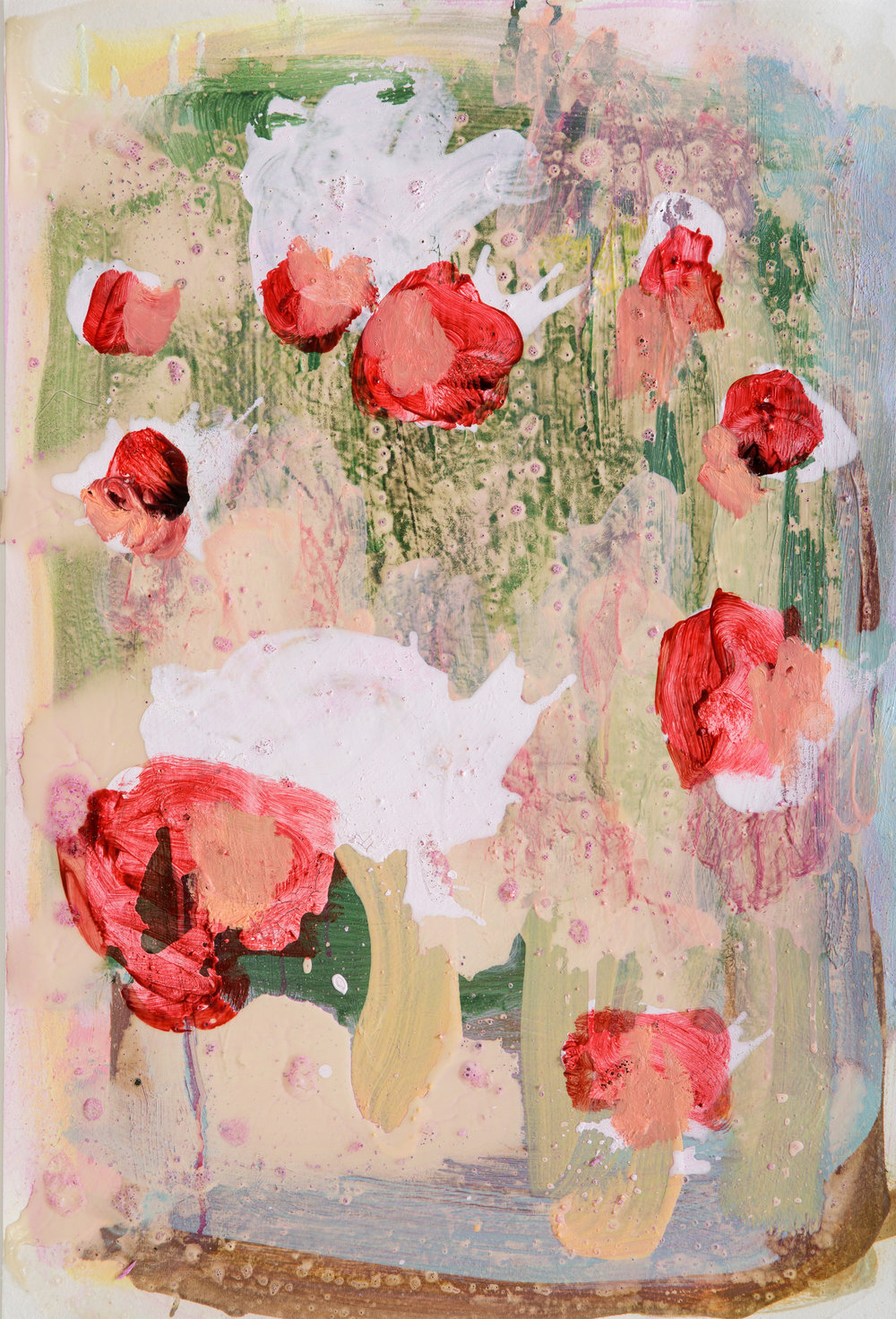 "Sabine Tress—""Blutsblumen (for Anselm Kiefer)""   Oils, acrylics and crayons on paper. 57cm × 39cm. 2016."