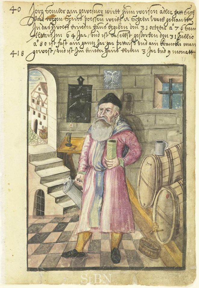 Beer is thought to have first been produced over 5,000 years ago. This illustration depicts a 15th Century innkeeper posing with his casks. Source: German National Museum