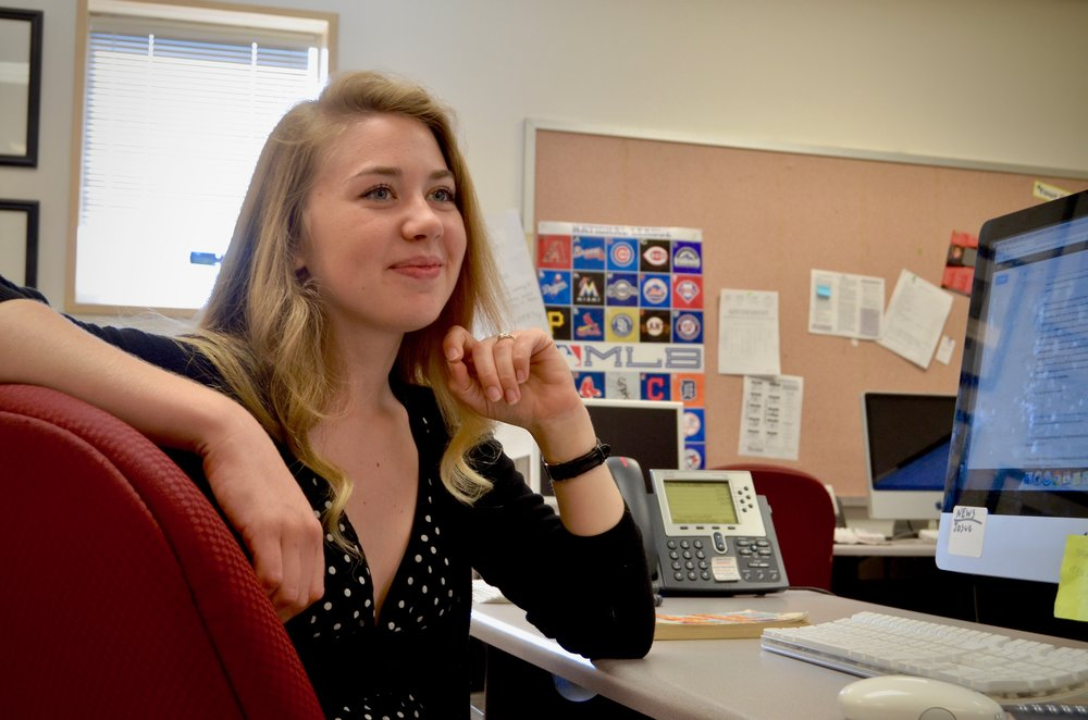 Ziemer at her desk in the Sundial newsroom, where editing and production for her section is compiled and ready for print. (Photo credit: Brian Andrade)